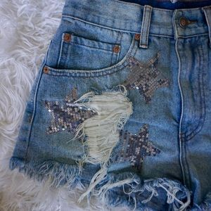 Pants - Star sequin jean shorts